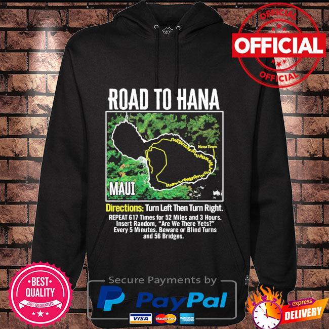 Road to hana map maui island guide hawaii hawaiian Hoodie black