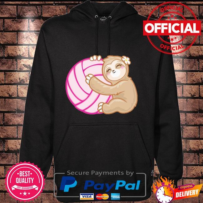Volleyball sloth hug pink ball Hoodie black
