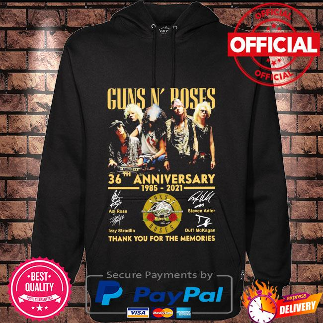 Funny Guns N' Roses 36th anniversary 1985 2021 thank you for the memories signatures Hoodie black
