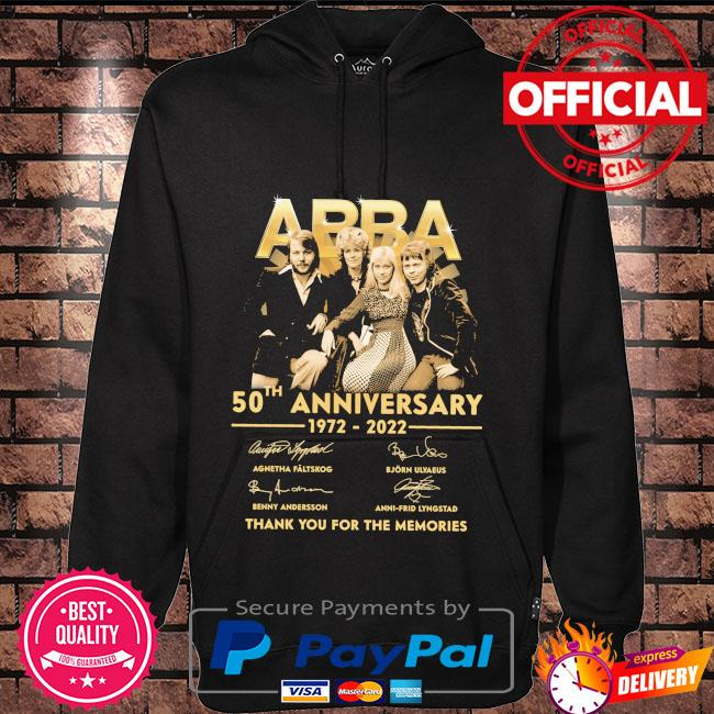 Abba 50th anniversary 1972 2022 thank you for the memories signatures Hoodie black