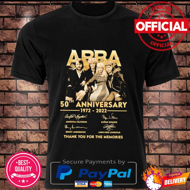 Abba 50th anniversary 1972 2022 thank you for the memories signatures shirt