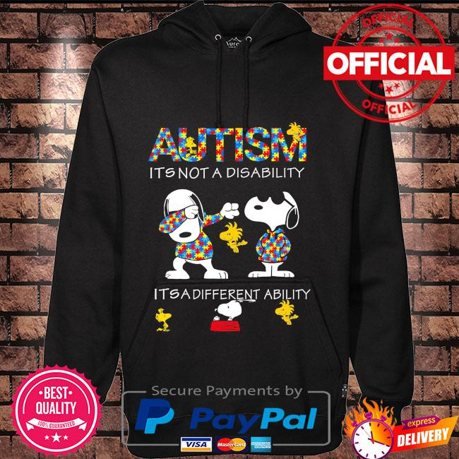 Dabbing Snoopy Autism it's not a disability it's a different ability Hoodie black