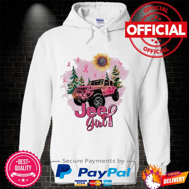 Sunflower and Jeep Girl Breast Cancer Hoodie white