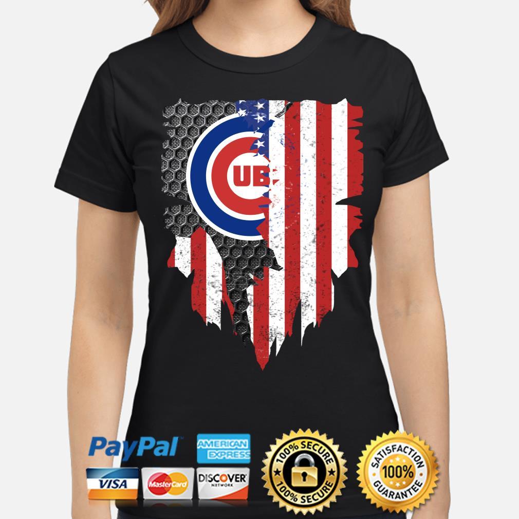 Chicago Cubs Inside American Flag Shirt ladies-shirt