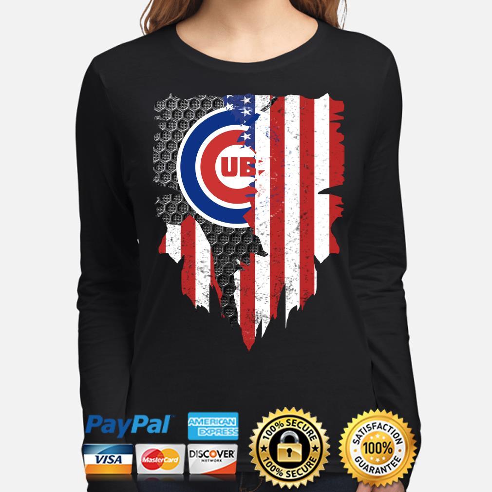Chicago Cubs Inside American Flag Shirt long-sleeve