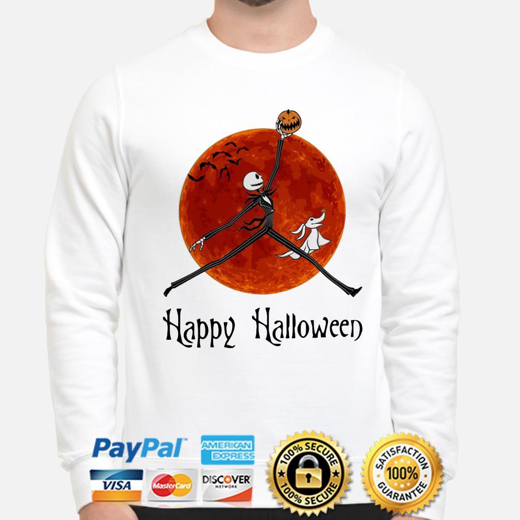 Jack Skellington And Zero Ghost Happy Halloween Shirt Hoodie Sweater Long Sleeve And Tank Top