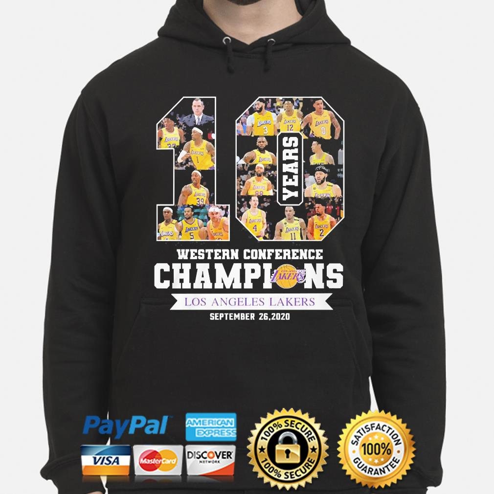 10 Years Western Conference Champions Los Angeles Lakers September 26 2020 Shirt Hoodie Sweater Long Sleeve And Tank Top