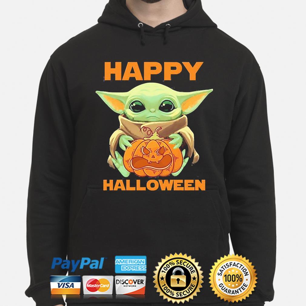 Baby Yoda Pumpkin Happy Halloween Shirt Hoodie Sweater Long Sleeve And Tank Top