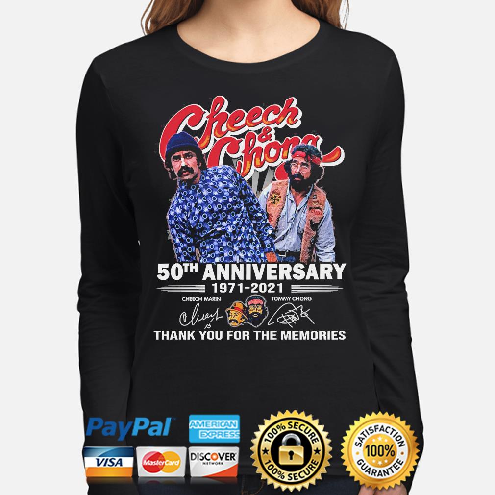 Official Cheech and Chong 50th anniversary thank you for the memories signatures s long-sleeve