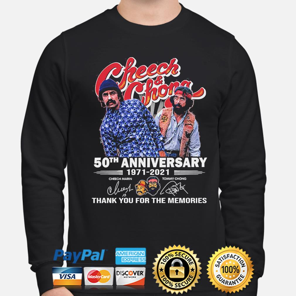 Official Cheech and Chong 50th anniversary thank you for the memories signatures s sweater