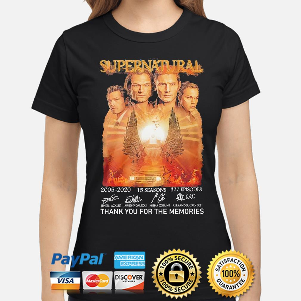 Supernatural 15 seasons 327 episodes thank you for the memories signatures shirt
